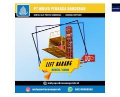 SEWA LIFT PROYEK / LIFT BARANG KAPASITAS 1-2 TON CEMPAKA PUTIH