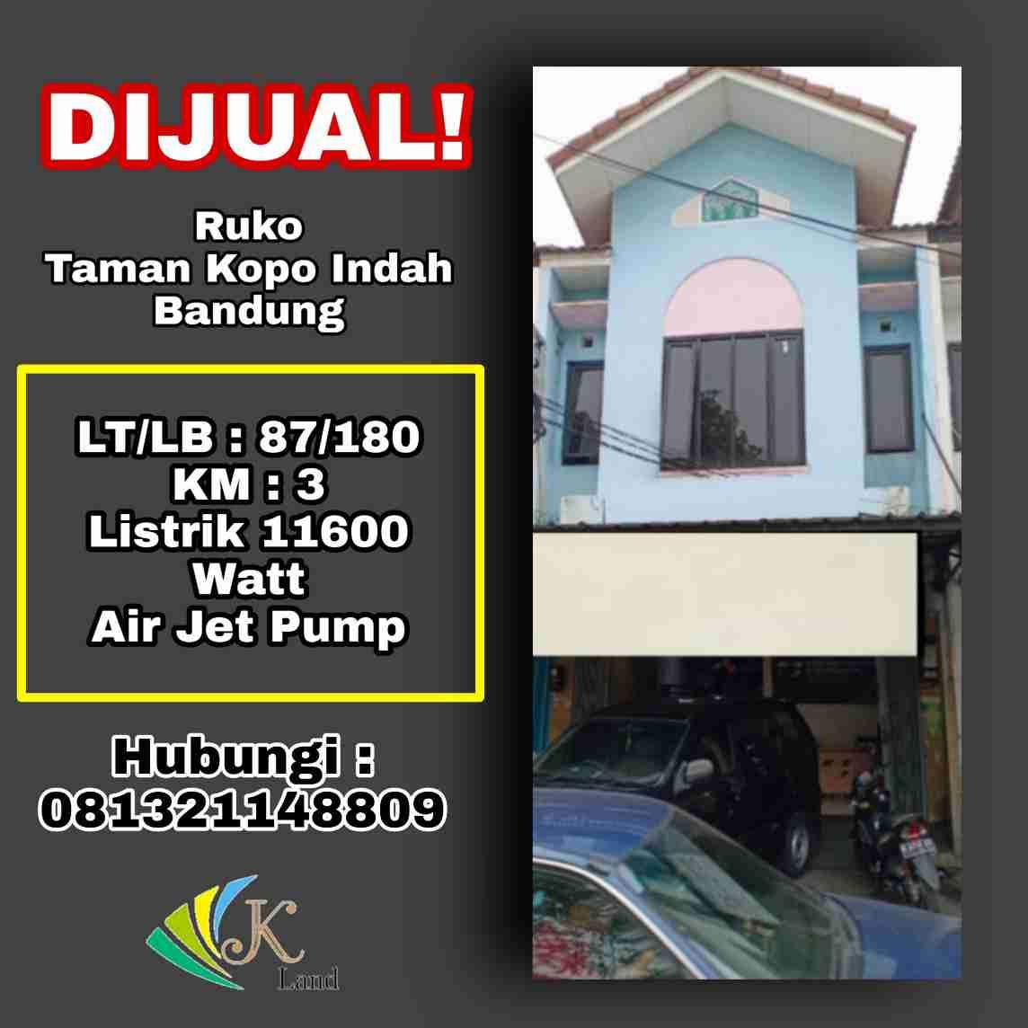 Dijual Ruko Taman Kopo Indah Bandung