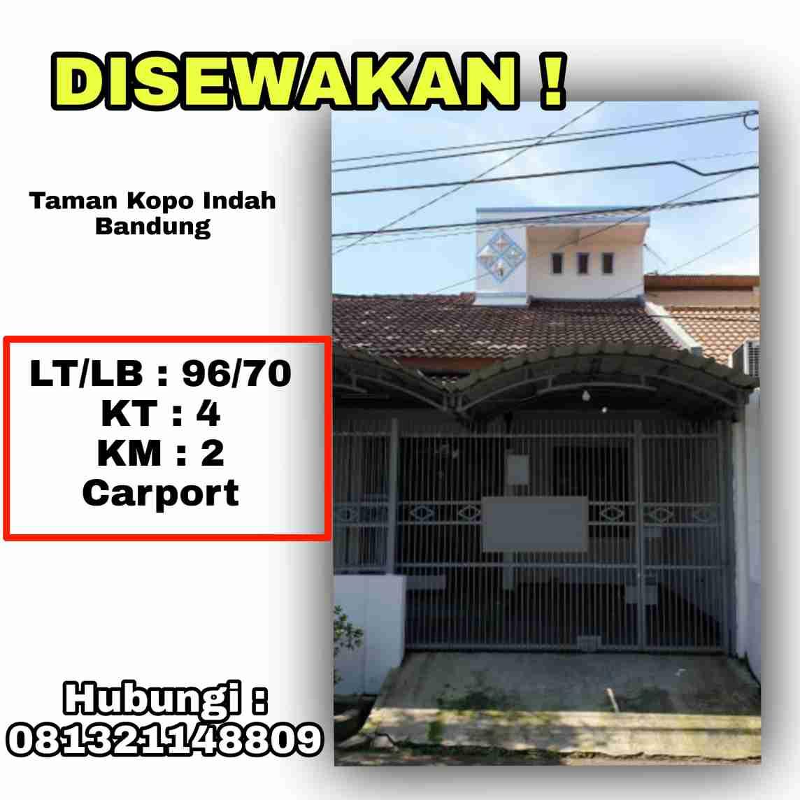 Disewakan Rumah Minimalis Taman Kopo Bandung