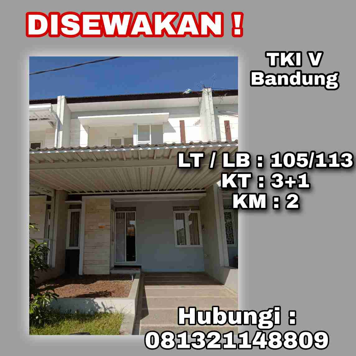 Disewakan Rumah TKI 5 Bandung